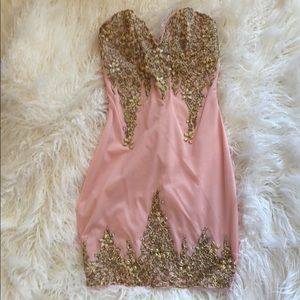 New Holt Miami hand painted pink gold dress small